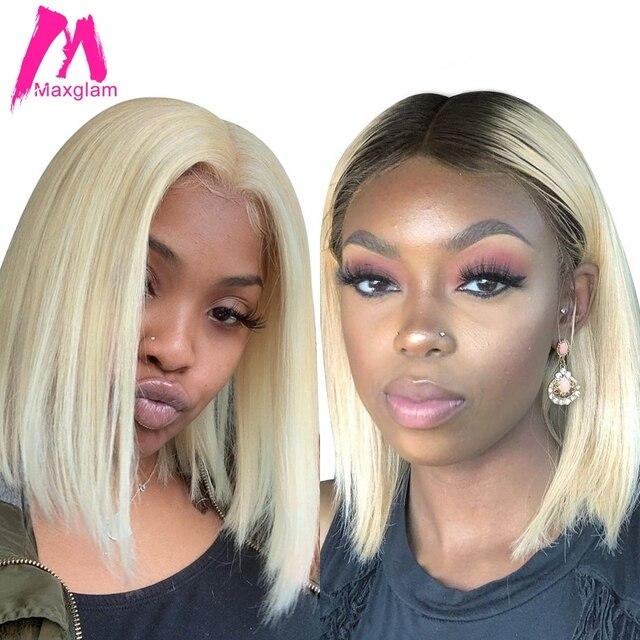 Kısa Bob peruk sarışın 613 dantel ön insan saçı peruk Ombre T1B/613 renk brezilyalı düz uzun ön koparıp siyah kadınlar için Remy