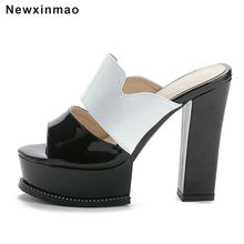 Pantent Leather Square Heel Slippers Women Sandals Platform 13cm High Heel Slippers Shoes Woman Sexy Peep Toe Pumps 2021 New