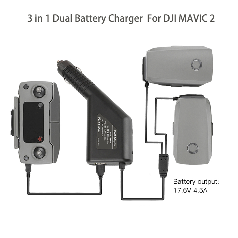 Energetic 3 In 1 Dual Battery Charger With Usb Car Charger For Dji Mavic 2 Pro & Zoom Drone Battery&remote Controller Drone Accessories