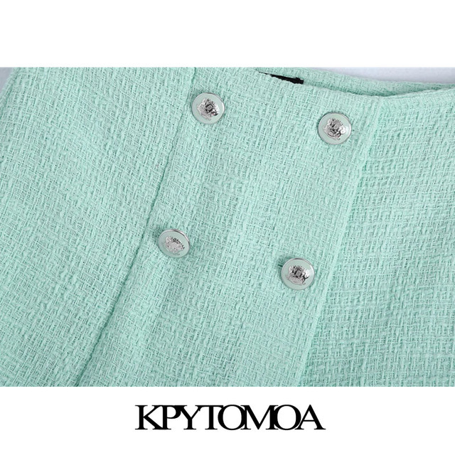 KPYTOMOA Women 2021 Chic Fashion With Buttons Tweed Shorts Skirts Vintage High Waist Side Zipper Female Skorts Mujer 3