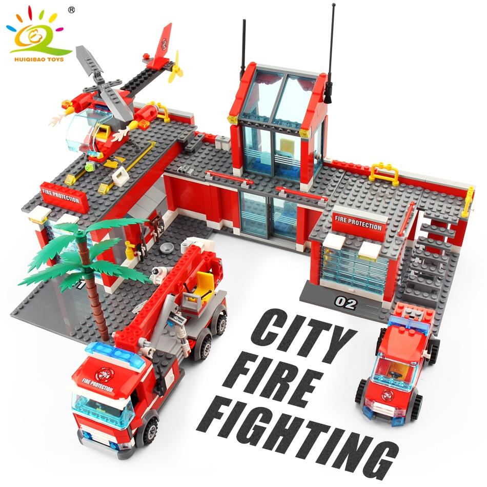 Blocks Toys 774pcs Fire Station Model Building Blocks Legoing City Construction Firefighter Truck Enlighten Bricks Toys Children