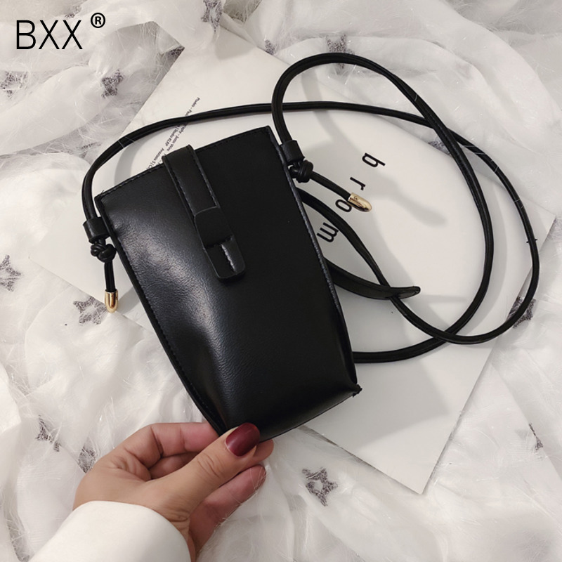 [BXX] Small PU Leather Crossbody Bag For Women 2020 Fashion Bucket Bag Shoulder Messenger Phone Bag Female Simple Handbags HK443