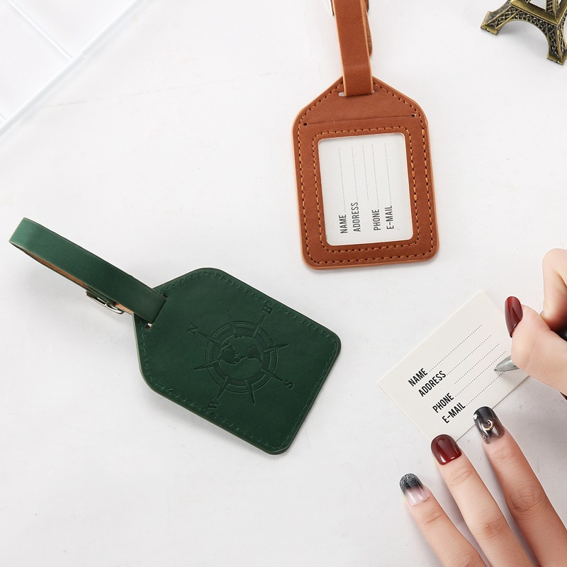 Compass Leather Suitcase Luggage Tag Label Bag Pendant Handbag Travel Accessory Boarding Tags Portable Label