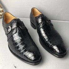 Authentic Crocodile BellyผิวHandmadeนักธุรกิจรองเท้าCowskinพื้นรองเท้าจระเข้แท้หนังผู้ชายรองเท้า