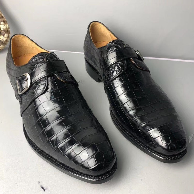 Authentic Crocodile Belly Skin Handmade Businessmen Dress Shoes Cowhide Insole Genuine Alligator Leather Buckle Strap Male Shoes