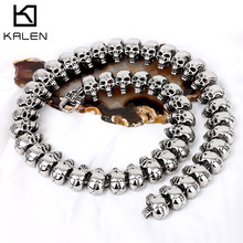 KALEN Punk Exaggerate Mens Statement Necklaces Rock 316 Stainless Steel Skull Charm 64CM Long Necklace Cool Biker Pub Accessory