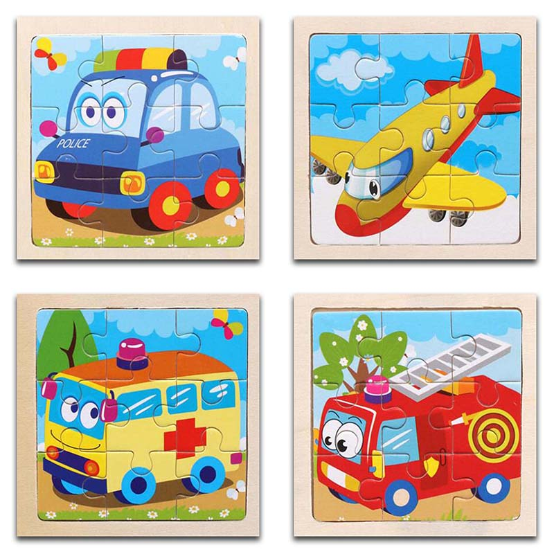 3D Paper Kids Children's Baby Early Childhood Educational Toy Cartoon Transportation Wooden Small 9-Piece Jigsaw Puzzle