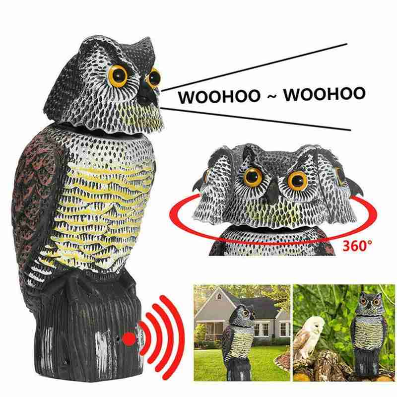 Realistic Scarecrow Rotating Head Sound Prowler Owl Lure Protection Pest Repeller Control Scarecrow Garden Move