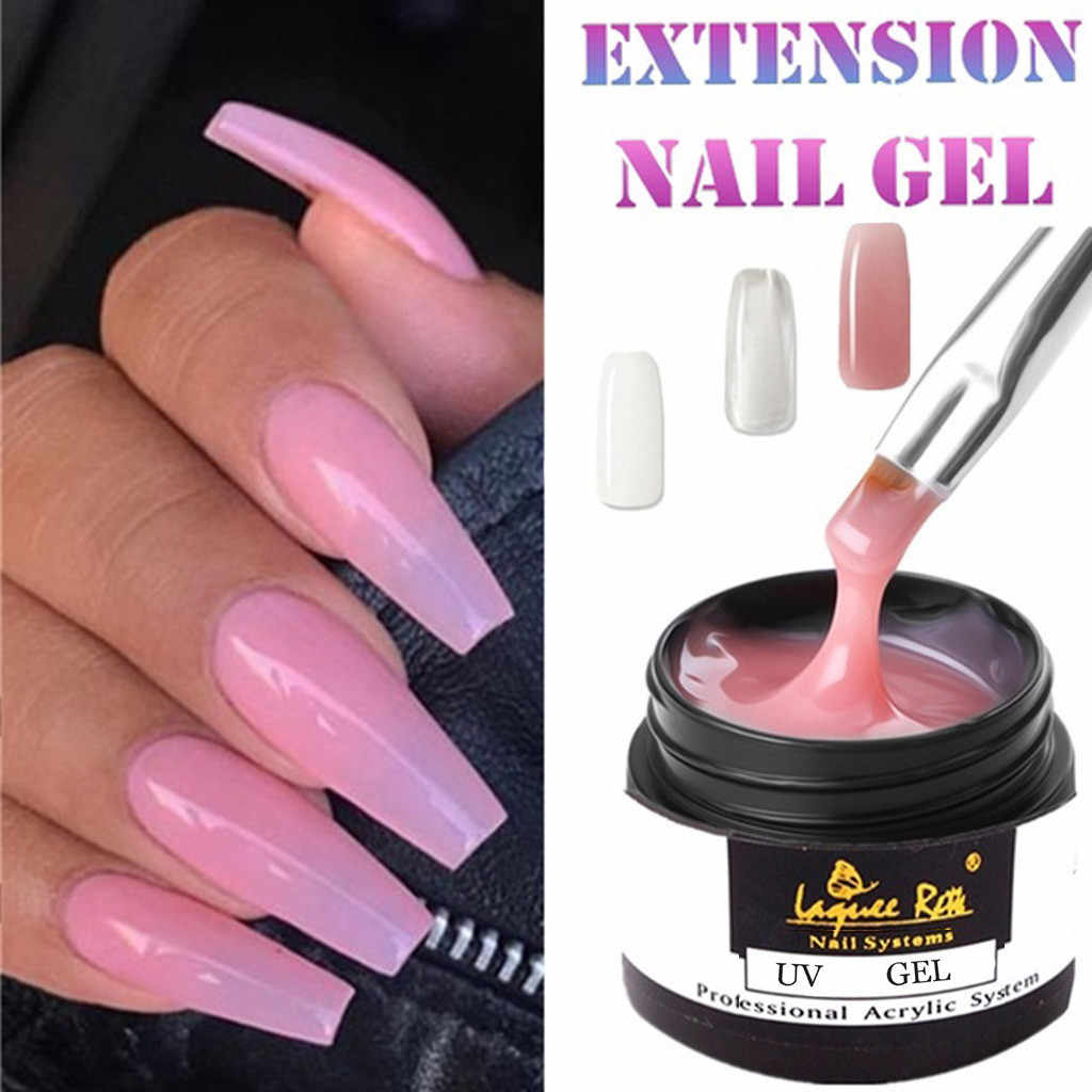 30g Nail Acrylic Quick Extension Nail Cover poly gel Clear Pink Withe Color Crystal UV LED Builder gel for Manicure finger