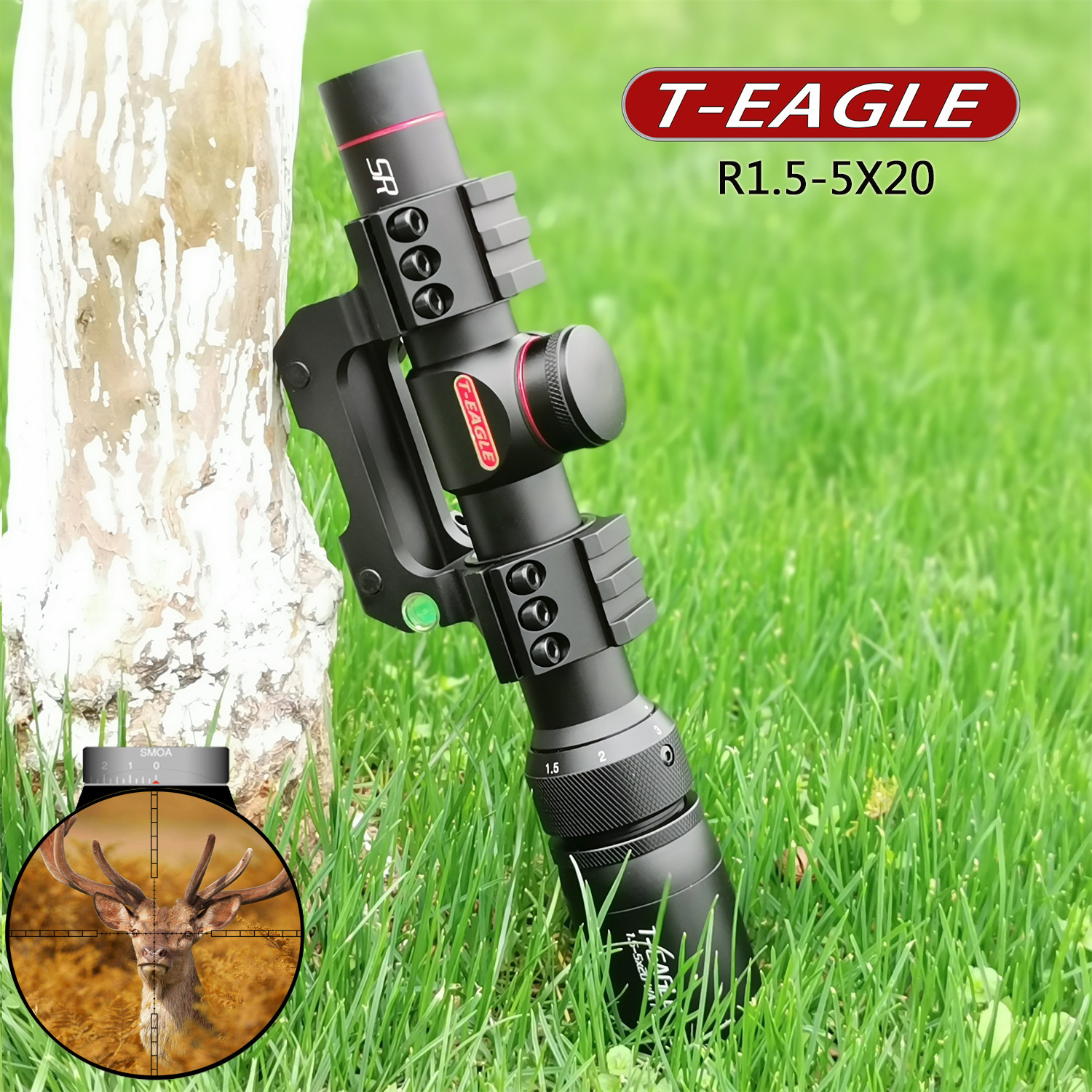 TEAGLE R1.5-5X20 Tactical RiflesScope Sniper Hunting Optics Riflescopes Airsoftsports Shock Proof Big Vision Rifle Scope