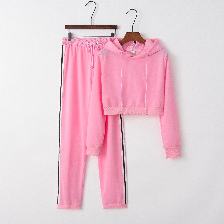 Solid Soft 2020 New Design Fashion Hot Sale Suit Set Women Tracksuit Two-piece Style Outfit Sweatshirt Sport Wear