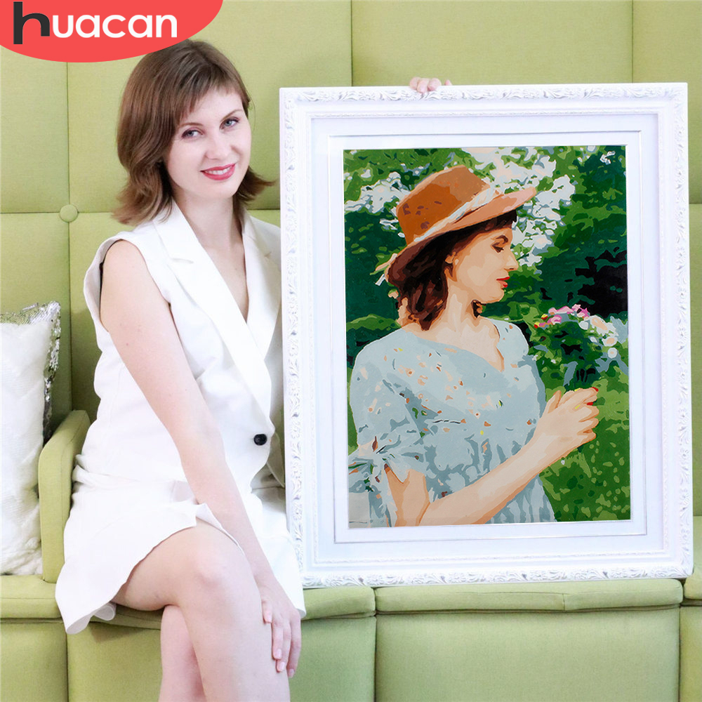 HUACAN Oil-Painting Pictures Diy-Kits Drawing By Numbers Portrait Custom Family Canvas