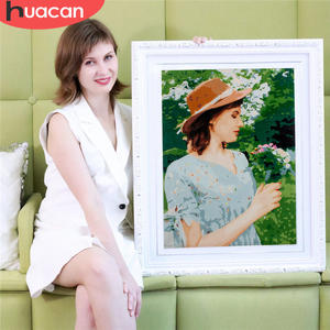 HUACAN Oil-Painting Pictures Diy-Kits Drawing Canvas Photo By Numbers Portrait Custom