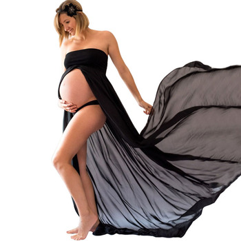 Sexy Black White Maternity Dresses for Photo Shoot Photography Props Women Pregnancy Dress Lace Long Strapless Maxi Dress belva maternity dress pregnancy ultra soft bamboo fiber long dresses tank dress slim fit maxi blue black summer dress dr111