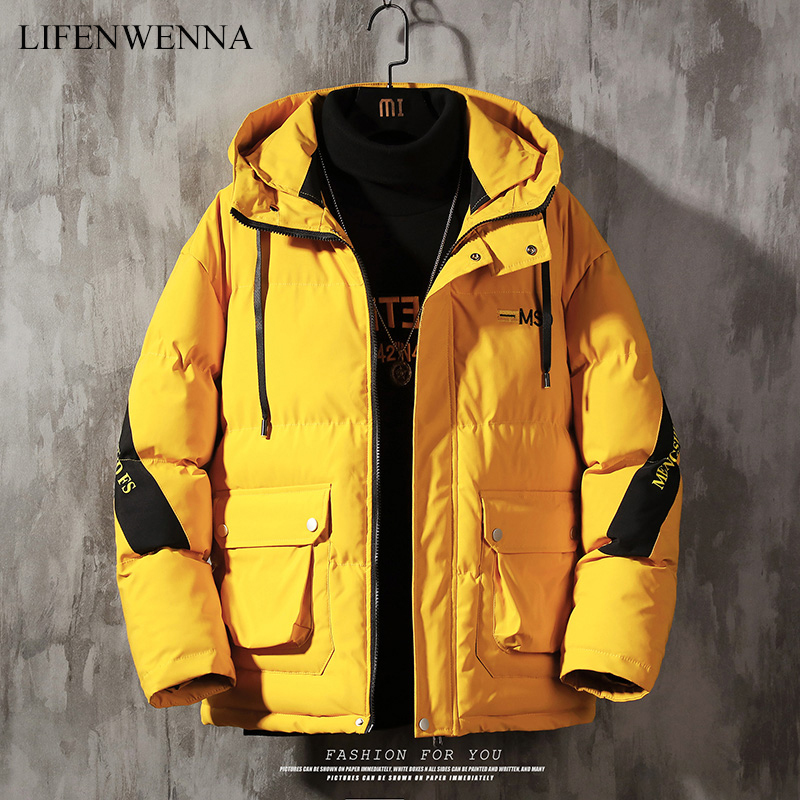 LIFENWENNA 2019 Winter Jacket Men Casual Thick Warm Men's Harajuku Mens Parkas Coats Hooded Print Black White Male Windbreaker