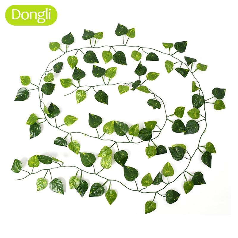 240cm ירוק משי מלאכותי קיסוס תלייה עלה זר צמחי גפן גפן עלים 1Pcs בית אמבטיה קישוט מסיבת גן דקור