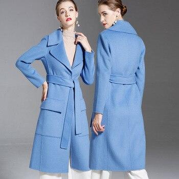 Длинные шерстяные кашемировые пальто для женщин, осенне зимние женские куртки размера плюс, двухстороннее Детское пальто с синим поясом, 2019