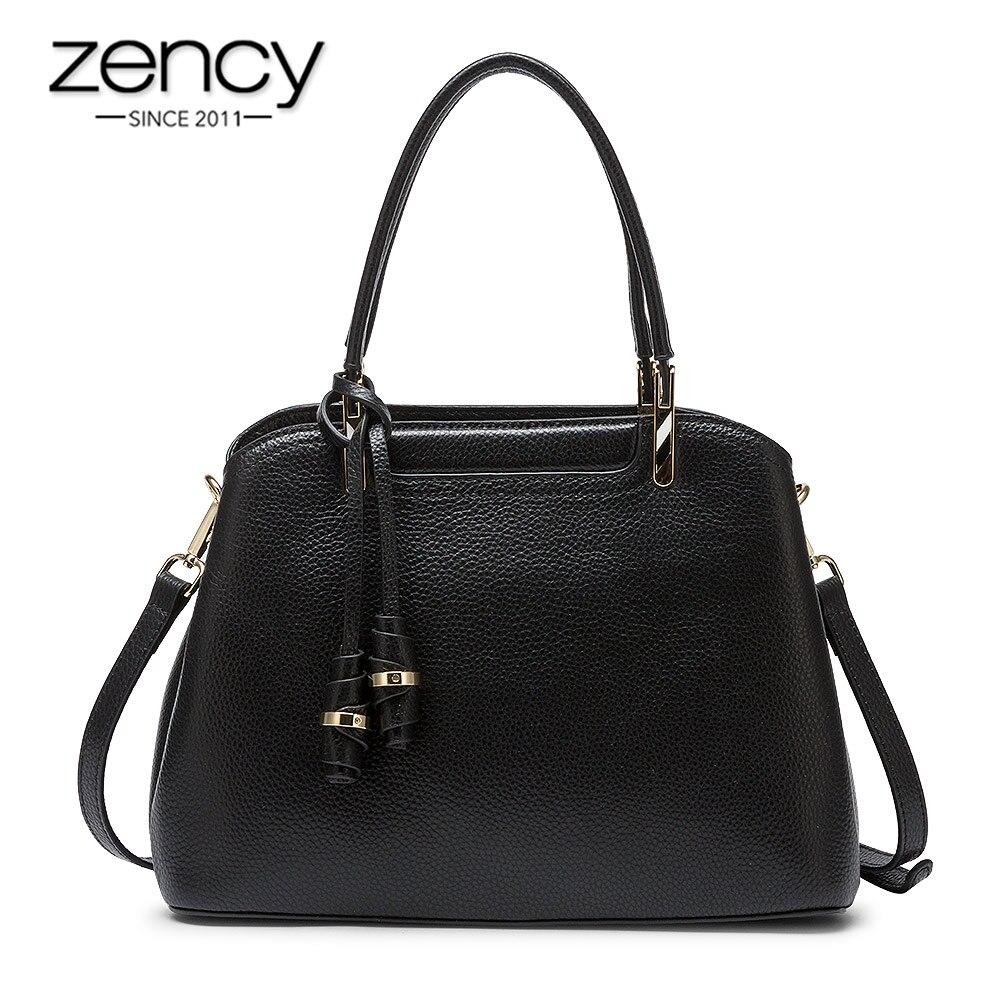 Zency Retro Brown Women's Handbag Made Of Genuine Leather High Quality Fashion Lady Tote Shoulder Bags Black Grey Crossbody Bags