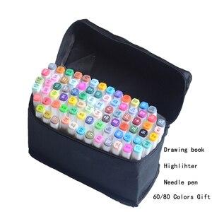 Маркеры для рисования, спиртовые маркеры для рисования, набор фломастеров с двойной головкой, 30 40 60 80 цветов