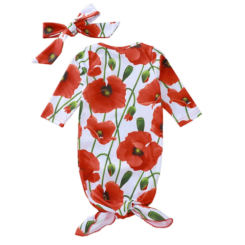 Baby Sleeping For Boys Girls Bag Long Sleeve Cotton Floral Print Hair Band 0-12 Months