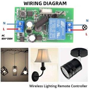 Image 3 - 433 mhz rfリモートコントロールac 220v 10A 1CHリレー受信機ユニバーサルガレージ/ドア/ライト/led/送風機/モーター/信号伝送