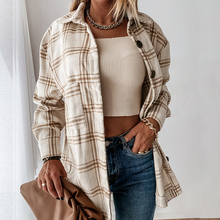 Women Autumn Long Sleeve Plaid Shirt Blouse Winter Casual Loose Thick Shirt Outfits Single Breasted Chic Tops Checked Blouse