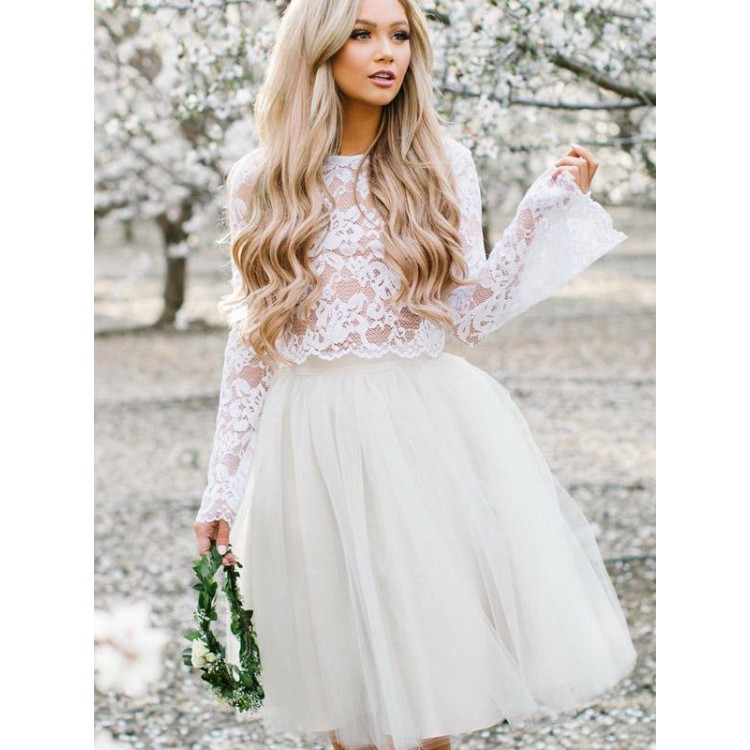 Two Pieces Top Lace Tulle Skirt Prom Dresses 2019 Puffy Vestido De Formatura Curto in Prom Dresses from Weddings Events