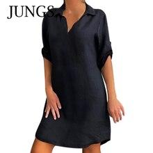 Mode Frauen Plus Größe Solide Baumwolle Leinen Drehen Unten Kragen Lose Hemd Kleider Medium länge Hülse Frau Kleid Roupas Femininas