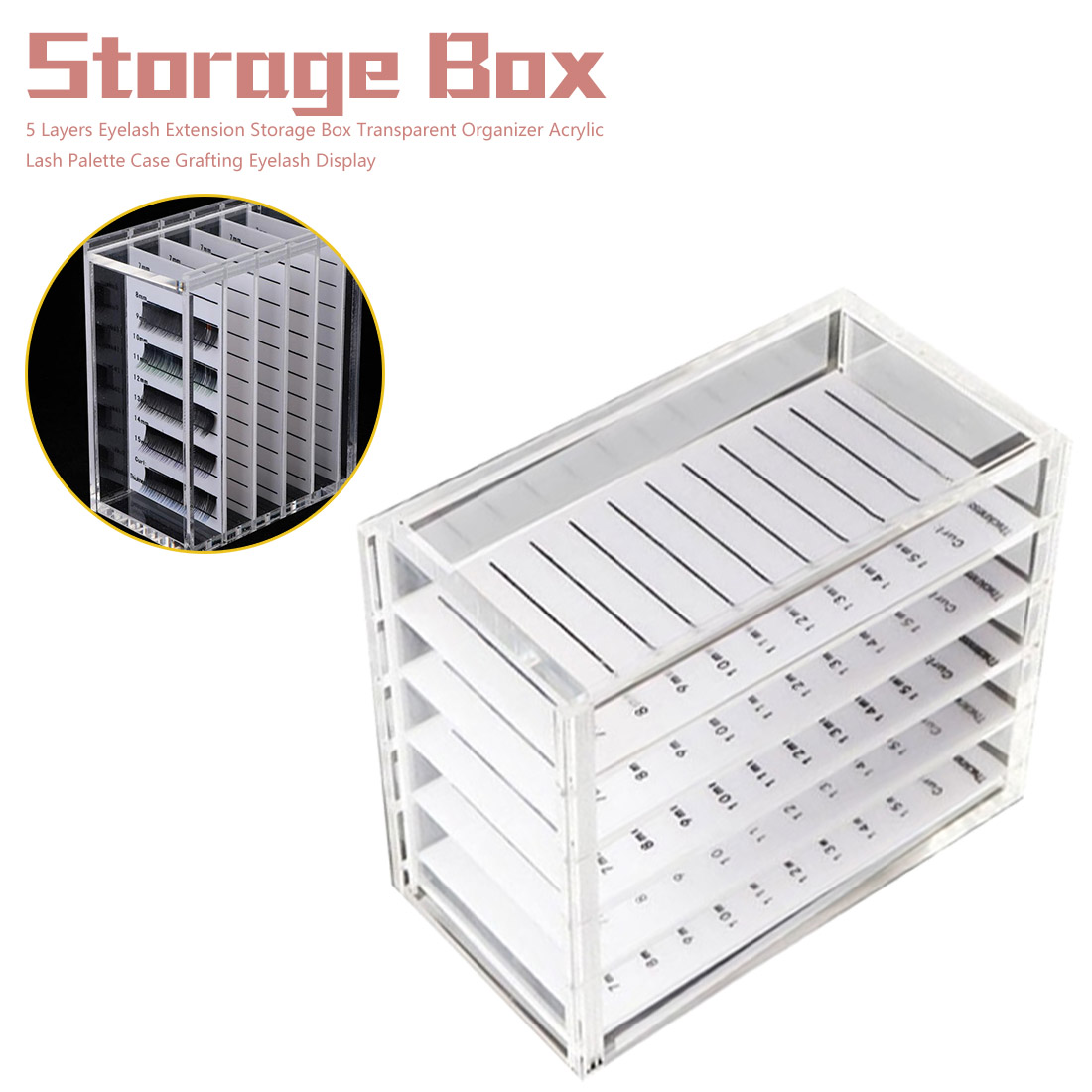 False Eyelashes Storage Box Acrylic Eyelash Extension Individual Lash Pallet Display Holder Eyelash Storage Organizer