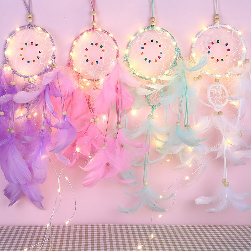 DIY Feather Dream Catcher Pendant Hand Made Gift Girl Pendant Color Decoration Creative Handmade Gift With Light E65B