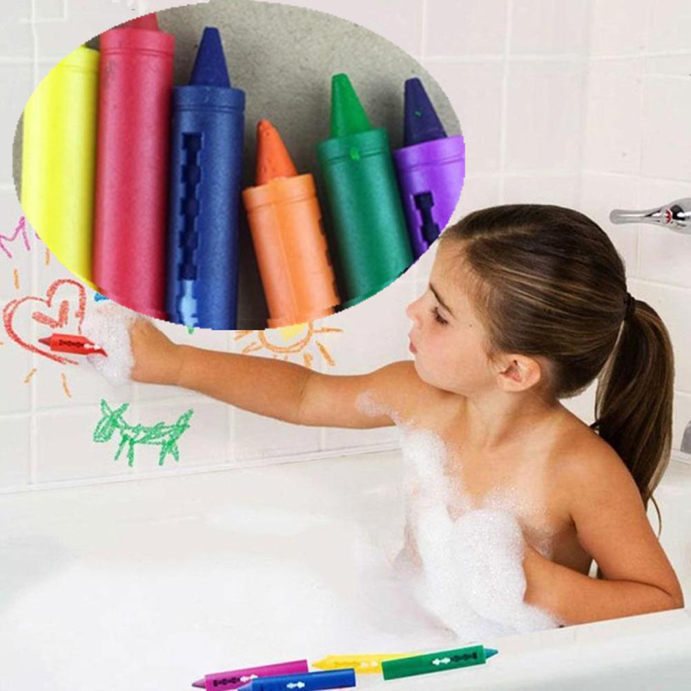 6PCS/Set Baby Bathroom Crayons Washed Color Creative Colored Pen For Kids Painting Drawing Supplies Bath Toy