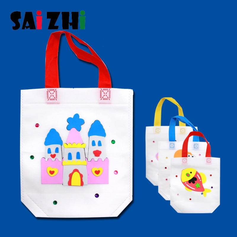 Saizhi DIY Environmental Protection EVA Sticker Bag Handmade Painting Non-Woven For Children Arts Crafts Color Sticker Toys