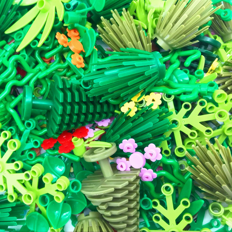Аксессуары для растений на дереве, строительные блоки, совместимая трава кустарник, листок, джунгли, Военный Город, друзья, MOC, кирпичные игр...
