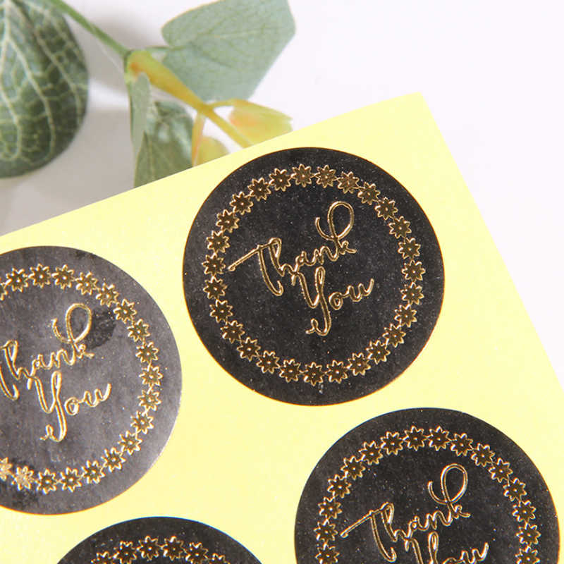 120pcs/Lot Thank you with Star Ring Black Labels stickers gift Package stationery sticker