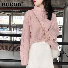 RUGOD 2019 Elegant solid twisted women sweater