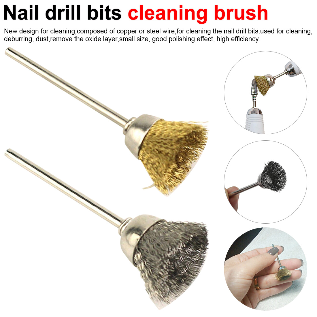 1PCS Nail Art Tools Nail Drill Bits Copper Wire Cleaning Brush Rotary Manicure Electric Drills Accessories