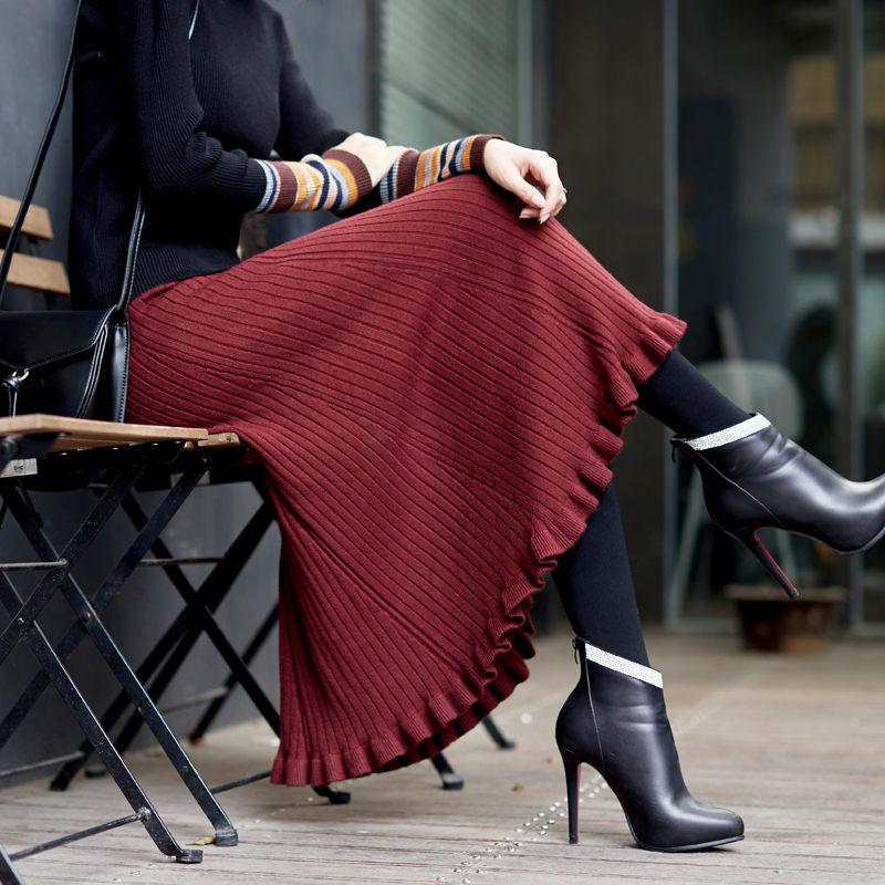 Large Size Knit Skirt Women Autumn And Winter Sweater Skirt High Waist Long Loose Lotus Leaf Fishtail Umbrella Skirt Femme Jupe