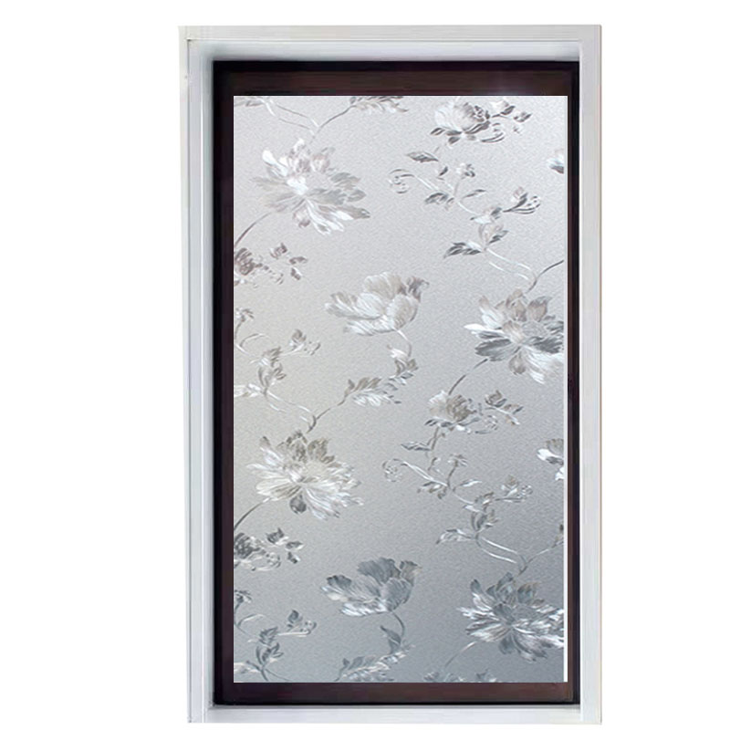 Hibiscus Flower Pattern Window Film PVC Frosted Private 3D Static Cling Privacy Protection Glass for Meeting Room Drop-Shipping