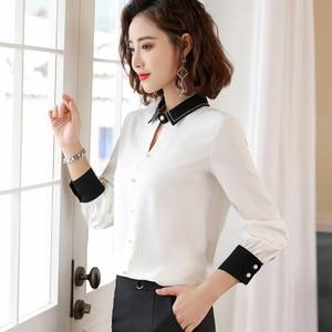 Image 3 - Chiffon Shirt Women Long Sleeve Autumn New Loose Lantern Sleeve Blouse Fashion Temperament Office Ladies Work Uniform