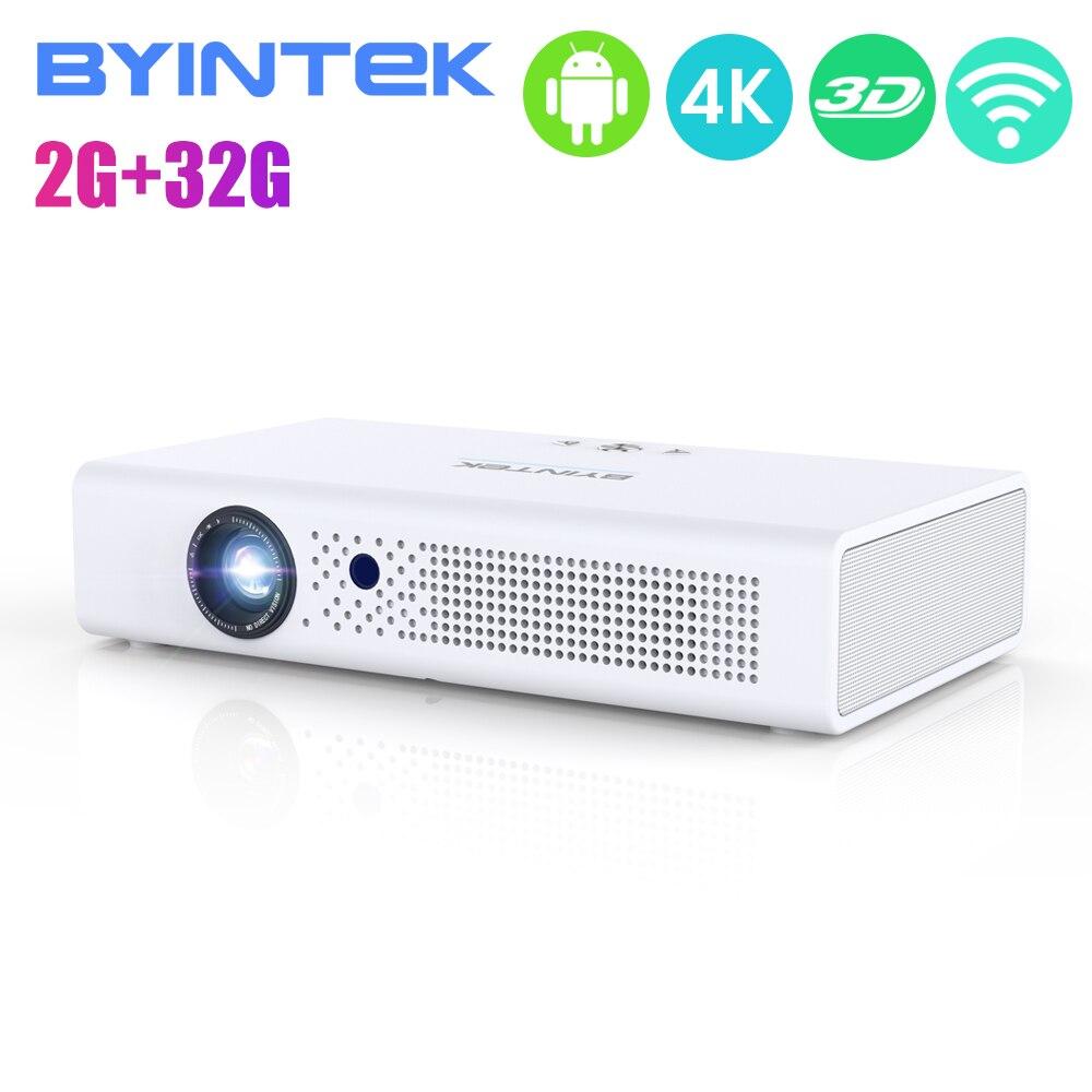 Projecteur BYINTEK R19 3D 4 K, vidéo intelligente Android WIFI de 300 pouces, Mini projecteur DLP Portable de LED pour Full HD 1080P HDMI 4K