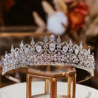 Bridal Hair Jewelry Zircon Crystal Tiara Silver Pageant Crown Women Diadem Headband For Party Dress Brides Wedding Ornaments