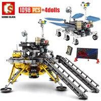 Città tecnica lunare Lander Space Rocket Building Blocks dirigibile modello di auto cosmonauta figure mattoni giocattoli per bambini