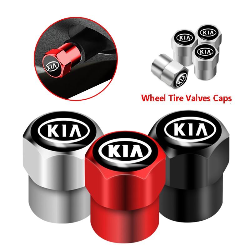 4Pcs New Metal Wheel Tire Valve Caps For KIA Cerato Venga Cadenza Cee'd Forte K9 Optima Soul Picanto Rio Sorento Sportage