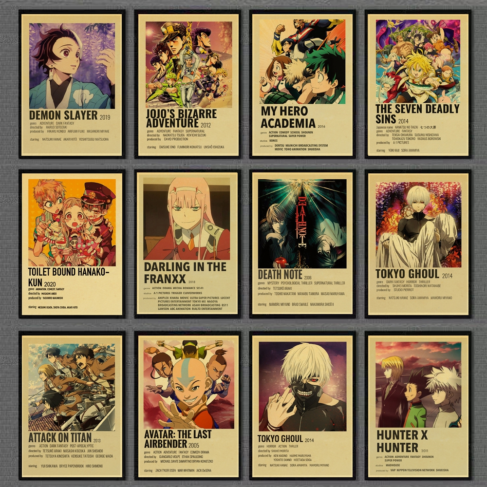 Anime Collection JoJo's Bizarre Adventure/Attack on Titan/Tokyo Ghoul Retro Posters Painting Kraft Paper Prints Home Room Decor