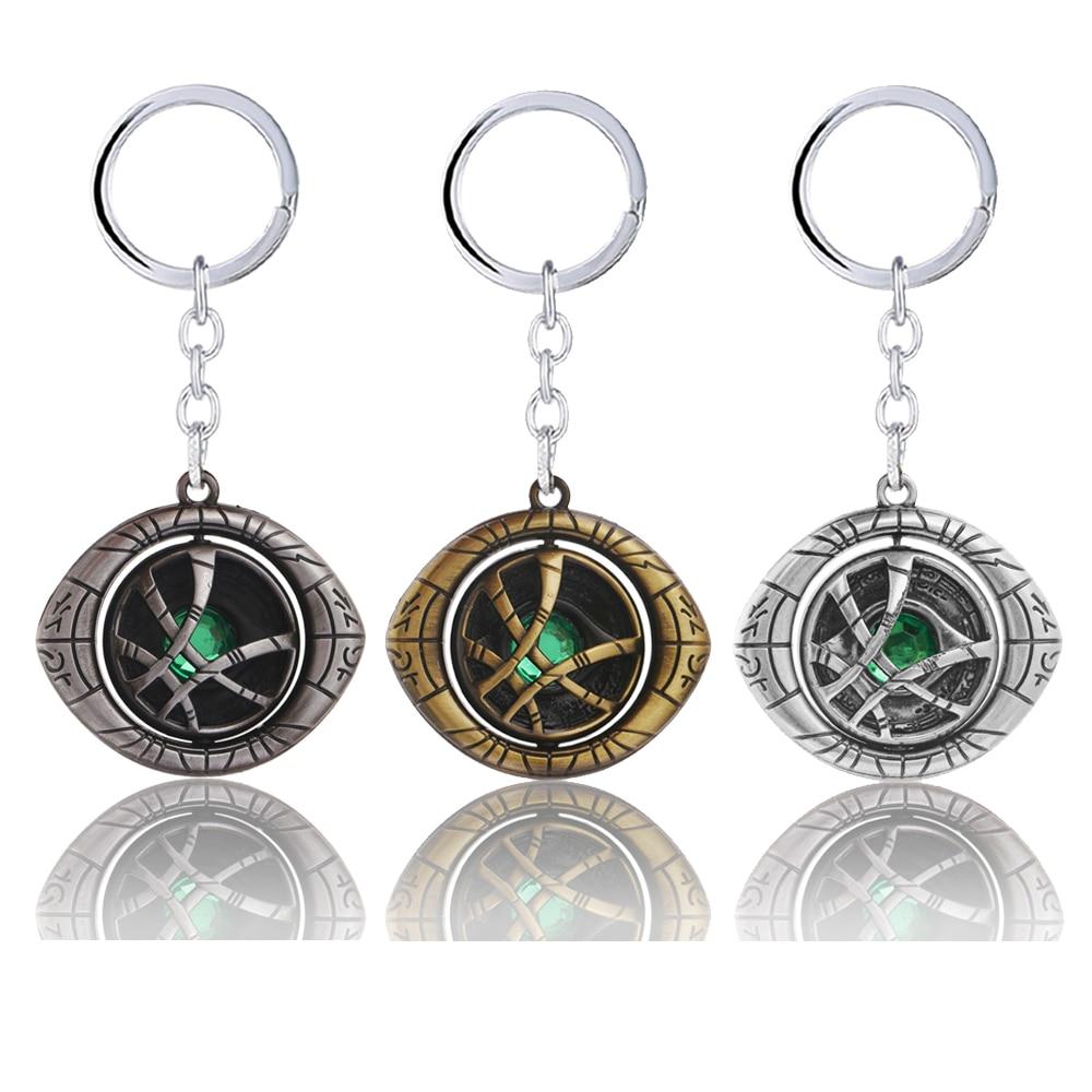 Doctor Strange Keychain Crystal Eye Rotatable Metal Pendant Key Chain Action Figure Chaveiro Movie Avengers Women Men Jewelry