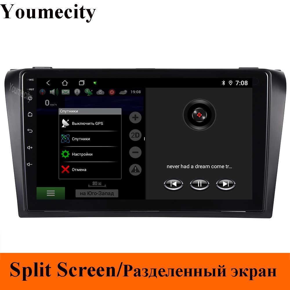 Octa core samochodowy odtwarzacz dvd dla mazdy 3 2005 2006 2007 2008 Android 9.0 2GRAM 32GROM Radio nawigacja GPS BT WIFI mapa wifi Navitel