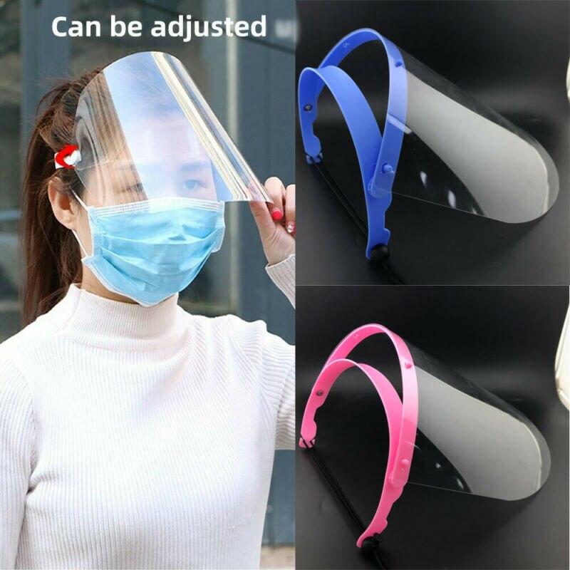 Safety Face Shield Mask Adjustable Transparent Full Face Shield Plastic Anti-fog Protective Face Masks Cover Film Flip Up Visor