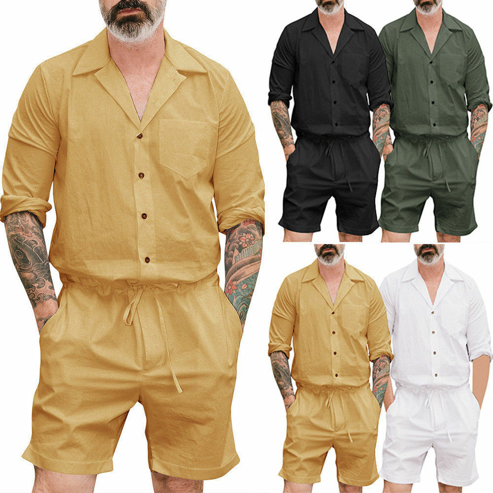 Rompers Jumpsuit Short-Sleeve Cargo-Pants Street Overalls Men's Casual Summer V-Neck