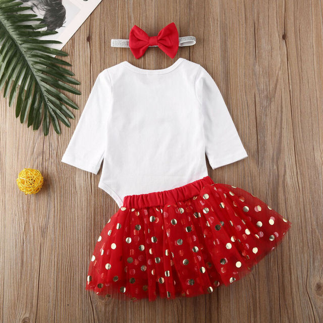 Pudcoco Christmas Baby Girls Clothes Customes Newborn Baby Girls Deer Bodysuit Tops Lace Tutu Skirt 3PCS Cute XMAS Kids Outfits