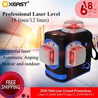 Xeast XE-68R pro laser nível 12 linhas 3d auto-nivelamento 360 horizontal e vertical cruz super poderosa linha de feixe de laser verde
